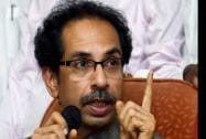 Shiv Sena president Uddhav Thackeray addressing a press conference at Shiv Sena Bhavan
