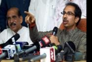 Shiv Sena president Uddhav Thackeray and Manohar Joshi addressing a press conference