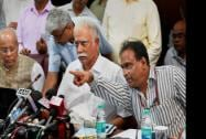 Civil Aviation Minister Ashok Gajapathi Raju Pusapati addresses a press conference on the achievements