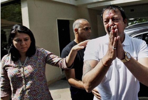 Bollywood actor Sanjay Dutt, breaks down as his sister Priya Dutt tries to console him