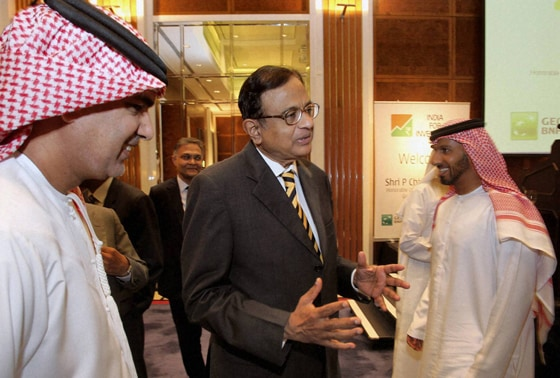 Finance Minister P. Chidambaram at a luncheon meeting in Dubai