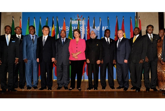 Prime Minister Manmohan Singh along with BRICS leaders
