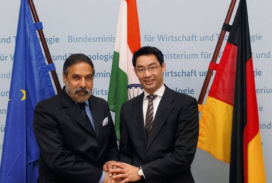 Anand Sharma shaking hands with Philipp Roesler, German Federal Minister of Economics and Technology