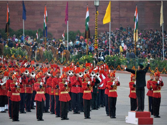 Beating Retreat Ceremony,The President of India, Prime Minister of india,Vice President of India,Defence Minister of India, Beating Retreat 2015, President Pranab Mukherjee, Vice President Hamid Ansari, Prime Minister Narendra Modi, Defence Minister Manohar Parrikar, Marshal Arup Raha, Admiral Robin Dhowan