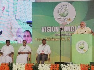 Prime Minister Narendra Modi addressing at the Global Ayurveda Festival in Kozhikode
