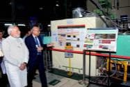 Prime Minister Narendra Modi with Secretary DAE and Chairman, AEC, R.K Sinha at an exhibition