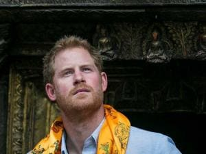 Britain's Prince Harry visits Golden temple in Patan Durbar in Patan, Nepal