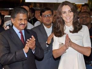 Catherine, Duchess of Cambridge along with CMD Mahindra group Anand Mahindra during the launch of 'Tech Rocketship Awards' in Mumbai.