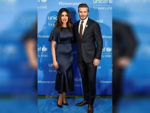 Priyanka Chopra poses with UNICEF Goodwill Ambassador David Beckham