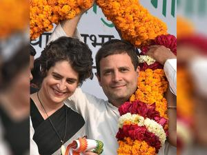 Rahul Gandhi with sister Priyanka Gandhi Vadra at an election rally in Raebareli