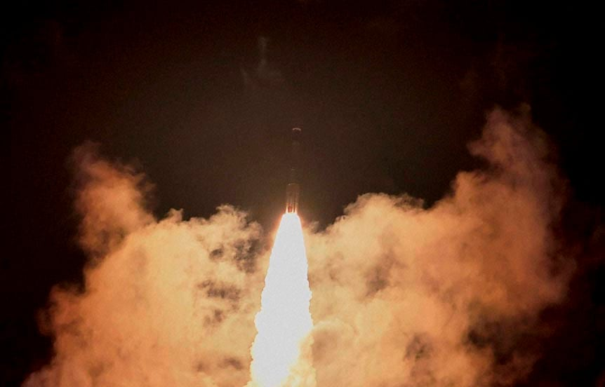 Indian Space Research Organisation's, Polar Satellite, Launch, Vehicle, (PSLV-C26), carrying, Indian Regional Navigation Satellite System, lifts off, Satish Dhawan, Space Center, Sriharikota
