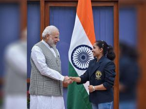 Narendra Modi greets Rio gymnast Dipa Karmakar