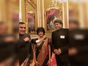 Kapil Dev with Indian High Commissioner to the UK Y K Sinha and his wife Girija Sinha