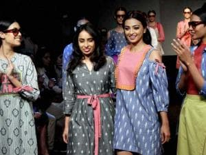 Actress  Radhika Apte walks the ramp for designer Sonali Pamnani during the Lakme Fashion Week in Mumbai