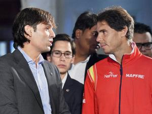 Rafael Nadal and LaLiga Ambassador Fernando Morientes during a press conference to announce LaLiga's official presence in India
