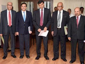 RBI Governor Raghuram Rajan with the Deputy governors