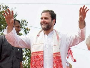 Rahul Gandhi  dances during the Padayatra and Jana Jagaran Yatra in Sivasagar