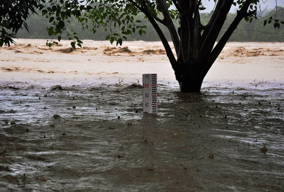 Flooded river Ganga flowing 1.5 meters above the danger mark following heavy rains in Haridwar on Monday.