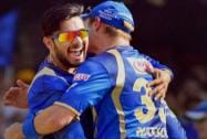Rajasthan Royals celebrate after taking down Faf du Plessis' wicket at Motera Stadium