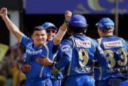 Rajasthan Royals celebrate the wicket of Chennai  Super Kings during a match in Ahmedabad