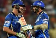 Rajasthan Royals batsmen Chris Morris and Tim Southee celebrate