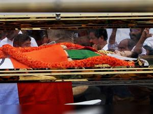 Tamil Nadu's former Chief Minister J Jayalalithaa's mortal remains being carried