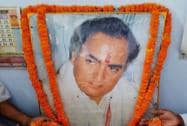Congress workers paying floral tribute to former Prime Minister Rajiv Gandhi on the occasion of his 24th death anniversary