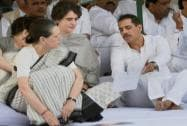 Sonia Gandhi with her daughter Priyanka Vadra and Robert Vadra