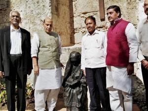 Union Home Minister Rajnath Singh at the statue of Mother Teresa in Havana