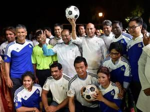 Union Home Minister Rajnath Singh during an event 'OORJA By CAFP U-19 Football Talent Tournament'
