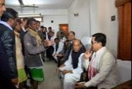 Union Home Minister Rajnath Singh with Assam Chief Minister Tarun Gogoi and MoS for Home Affairs Kiren Rijiju