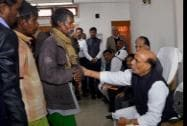 Union Home Minister Rajnath Singh with Assam Chief Minister Tarun Gogoi, meets the relatives of victims