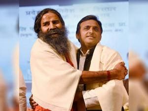 Akhilesh Yadav with Swami Ramdev during the foundation stone laying of Patanjali's Food and Herbal Park in Noida, at a function held in Lucknow