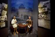 A tableau on Gandhi-Irwin meeting displayed at the Rashtrapati Bhavan Museum in New Delhi