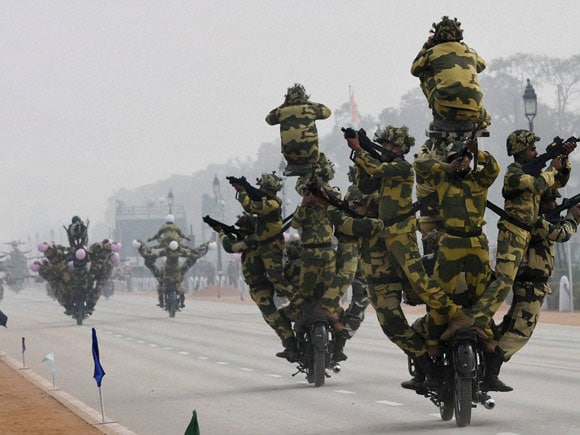 Republic Day parade, Rajpath, BSF daredevils.