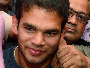 Wrestler Narsingh Yadav coming out of the NADA office after a hearing his dope scandal