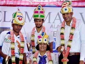 Mariyappan Thangavelu, Varun Singh, Deepa Malik and Devendra Jhajharia at a felicitation function