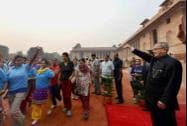 President Pranab Mukherjee flagging off the 'Run for Unity' on the occasion of Sardar Vallabhbhai Patel's birth anniversary at Rashtrapati Bhavan