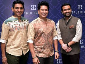 Cricket legend Sachin Tendulkar along with Arvind Fashion Brands CEO Rajiv Mehta and Executive Director Kulin Lalbhai before the launch of Arvind Fashion Brands' premium menswear in Mumbai