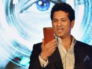 Cricket legend_Sachin Tendulkar at the launch of Ultrabook convertible t.book & premium smartphone t.phone at a function in New Delhi