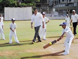 Cricket legend  Sachin Tendulkar celebrates his 43rd birthday by playing cricket with children from the 'Make-A-Wish India' organisation in the city