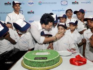 Master blaster Sachin Tendulkar celebrates his birthday with children from the 'Make-A-Wish India' organisation in Mumbai