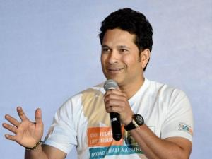 Cricketer Sachin Tendulkar during the announcement of the IDBI Federal life insurance Mumbai half marathon in Mumbai .