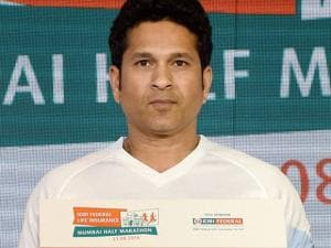 Cricketer Sachin Tendulkar during the announcement of the IDBI Federal life_insurance Mumbai half marathon in Mumbai.