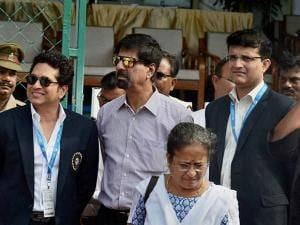 Sachin Tendulkar, K Srikkanth and Sourav Ganguly, seen on the occasion of India's 500th Test match at Green Park