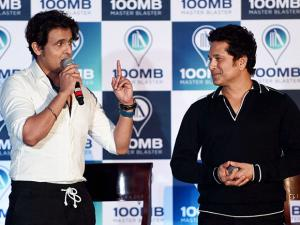Sachin tendulkar and singer Sonu Nigam during the launch of new digital application'100MB' in Mumbai