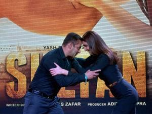 Bollywood actors Salman Khan and Anushka Sharma pose during the trailer launch of their new film Sultan in Mumbai