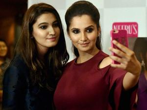 Sania Mirza along with sister Anam Mirza at an event in Mumbai