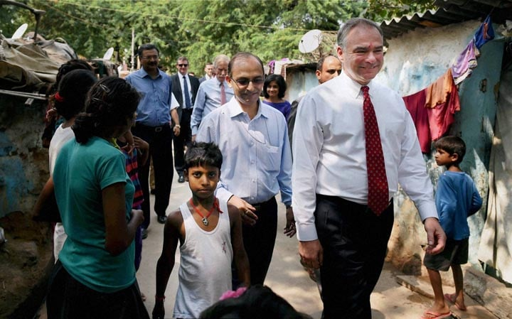 US Senators, Tim Kaine,  Angus King, Sanjay Gandhi, J.J. Cluster, shanty, town, overview sanitation, programs, run, non-governmental, organizations, New Delhi