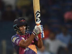 Rising Pune Supergiants batsman Mayank Agarwal plays a shot
